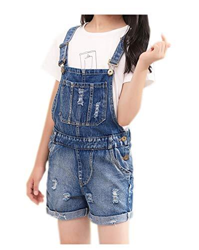 Girls Bib Overall - Sitmptol Girls Little Kids Distressed BF Jeans Cotton Denim Ripped Bib Overalls 120 Blue