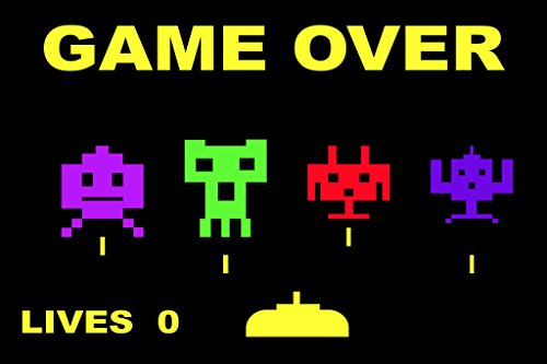 Game Over Throwback Retro Arcade Game Video Gaming Poster 18x12 inch - Ms Pac Man Ps2