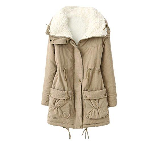 Khaki Thicken Warm Workers Mujer Zhuhaitf Outdoor Cotton para Jackets Pocket Zip Winter Ladies Bequem Coats qtwTw6IC