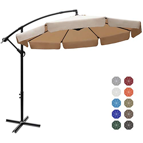 ABCCANOPY 9FT Offset Hanging Market Patio Umbrella with Cross Base for Garden, Deck, Backyard, Pool and Beach (Khaki)