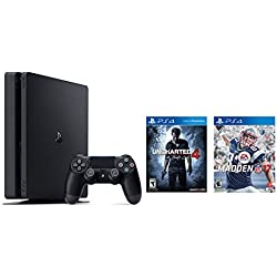 Playstation 4 Slim 2 items Bundle: PlayStation 4 Slim 500GB Console - Uncharted 4 Bundle and Madden NFL 17 - Standard Edition Game Disc