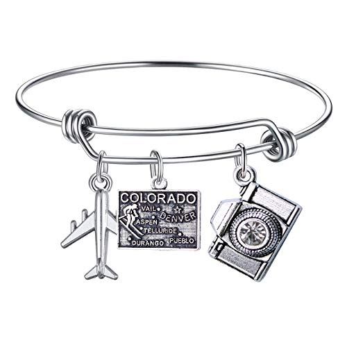 (DYbaby Travel Bracelet US Map Charm and State Map Charm Expandable Wire Bracelet Necessary Gift for Travellers (Colorado))