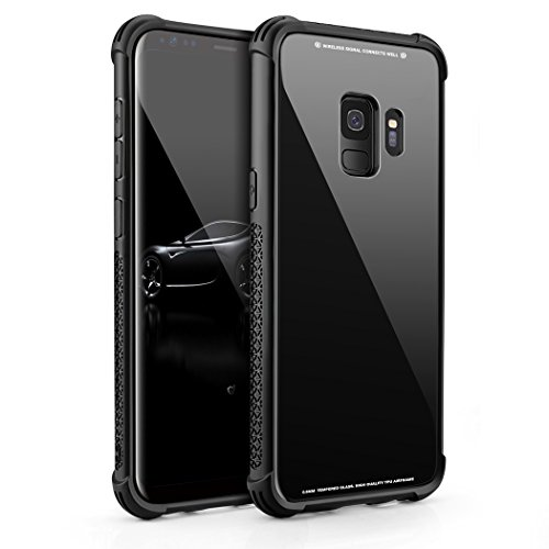 Samsung Galaxy S9 Case, Tempered Glass Back Cover Soft Silicone Rubber Bumper Frame Shock Absorption Anti-Scratch Support Wireless Charging Galaxy S9 (Black)