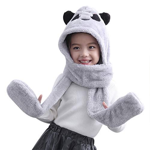 Greenery-GRE Kids Teens Girls 3 in 1 Warm Plush Fluffy Cartoon Winter Hats Scarf Mitten Gloves with Pockets Hoodie Cap Earmuff Costume Gift (Panda-Grey)