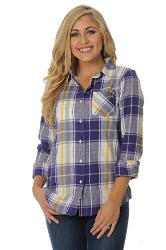 (UG Apparel NCAA East Carolina Pirates Women's Boyfriend Plaid Shirt, X-Large, Purple/Gold/White)