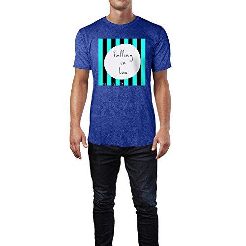 SINUS ART® Grafik Falling In Love Herren T-Shirts in Vintage Blau Cooles Fun Shirt mit tollen Aufdruck