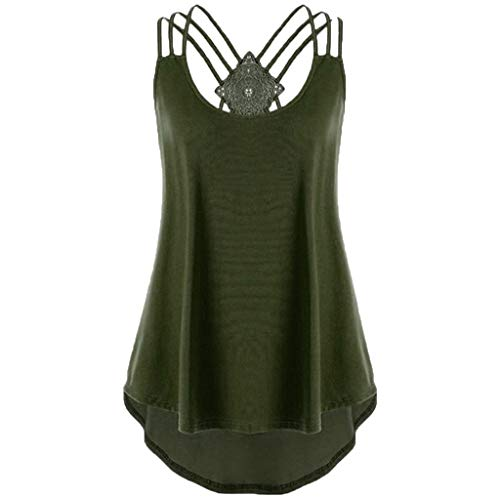 QueenMMWomen Bandages Sleeveless Vest Top High Low Tank Top Notes Strappy Tank Tops Blue