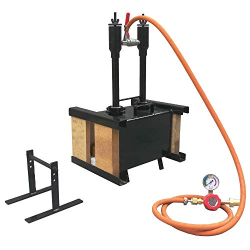Portable Propane Double Burner with Both Side Brick Door Knife and Tool Making Farrier Forge, Rectangle Shape