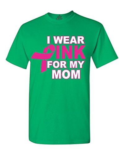 Shop4Ever I Wear Pink for my Mom T-shirt Breast Cancer Awareness Shirts XXXX-Large Irish Green 0 (Pink Green T-shirt Ribbon)