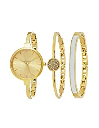 SO & CO New York Women's Madison Ultra Slim Bangle Set Watch with Gold Dial and Gold Band