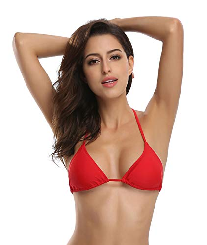 Bikini Separates Top - SHEKINI Women's Tie Side Bottom Push up Padded Top Triangle Bikini Bathing Suit (Medium, Rose Red - Top Only)