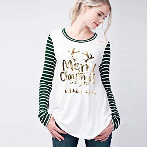 A Stripe Bluse Targogo Autunno Primaverile Casual Camicia Gr Tops Maniche Collo Magliette Rotondo Stampato Eleganti Donna Shirts Abbigliamento Lunghe TqX0C