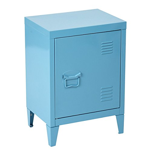 HouseinBox Low Standing Locker Organizer Side End Table Office File Storage Metal Cabinet Cupboard Unit,White,15.9'' x 12'' x 22.6'' (Blue) by HouseinBox