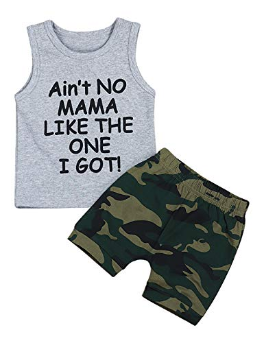 Baby Boy Clothes Funny Letter Printed Vest and Camouflage Shorts Summer Outfit Set (C-Grey, 6-12 Months)]()