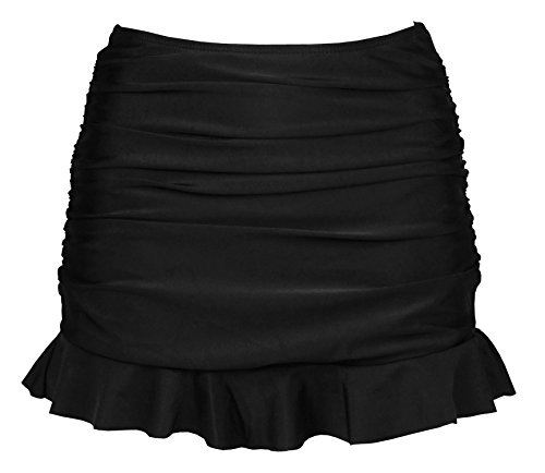 Cocoship Black Lady's Solid Skirted Bikini Bottom Ruched Shirred Skirt Swimdress with Panty 10(FBA) (Solid Bikini Panty)
