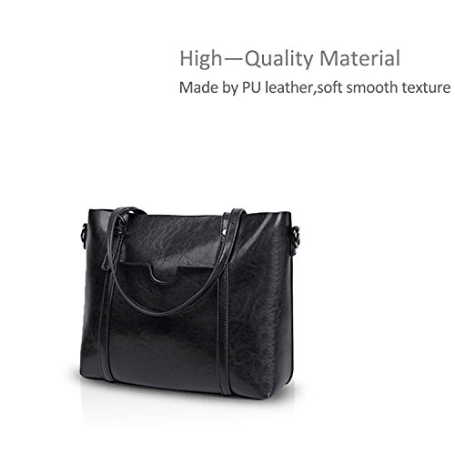 Large NICOLE PU Shoulder Black Bag Bag Tote Women Crossbody Brown Purse Handbag Light amp;DORIS New Bag Leather vxqvw7fAr