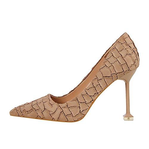 in partito In scarpe temperamento europeo scamosciata alta di pelle YMFIE elegante Khaki con single donna stile retrò tacco sexy lavoro da scarpe scarpe rebbio RYCqwdd7