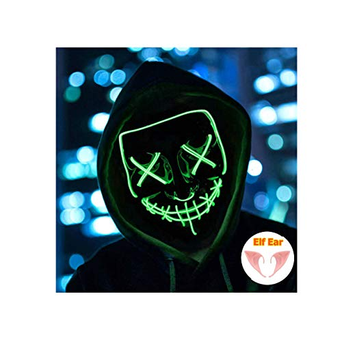 Halloween Mask Light up Mask Cosplay LED Mask Frightening Purge Mask for Festival Cosplay Halloween Parties Costume (Green) -