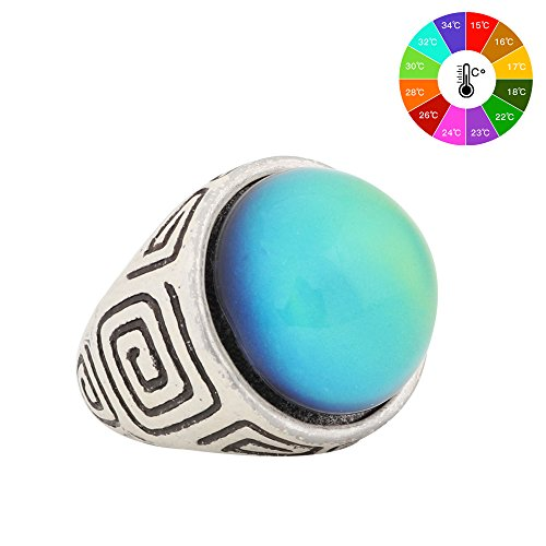 Abstract Design Ring - Mood Ring Classic Design Handmade Abstract Pattern Zinc Alloy Antique Sterling Silver Plated Round Shape Temperature Sensing Color Changing Stone Finger Big Rings for Women Men Fashion Unique RS044