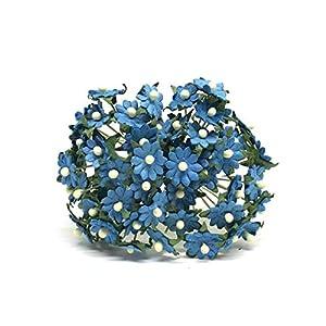 1cm Blue Paper Daisies, Mulberry Paper Flowers, Miniature Flowers For Crafts, Mulberry Paper Daisy, Paper Flower, Artificial Flowers, 50 Pieces 3