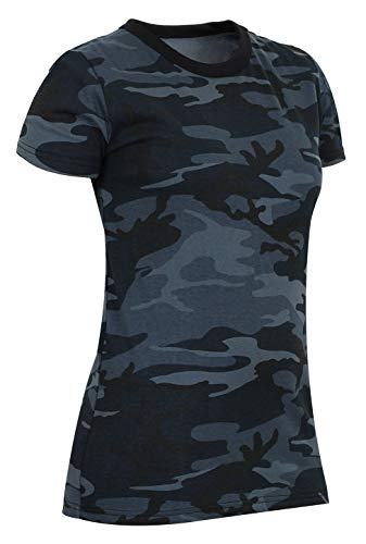 Rothco Womens Long Length Camo T-Shirt, Midnight Blue Camo, L