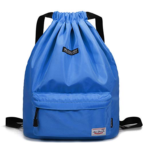 WANDF Drawstring Backpack String Bag Sackpack Cinch Water Resistant Nylon for Gym Shopping Sport Yoga (Sky Blue - Blue Nylon Drawstring Backpack