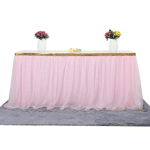 Table Skirt Fluffy 2 Layers Bling Gold Trim Mesh Tutu Tulle Table Skirt for Kitchen Dining Catering Wedding Birthday Party Decorations (Pink, 9 ft)
