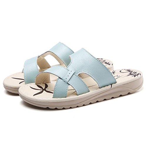 Pantuflas Verano Sandalias De Transpirables Cuero Sandalias De para Elegantes Mujer Blue Sandalias Y qCUP5C