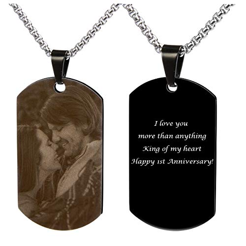 (Fanery Sue Personalized Photo Necklace Stainless Steel Military Dog Tag Custom Text Engrave ID Necklace (Black))