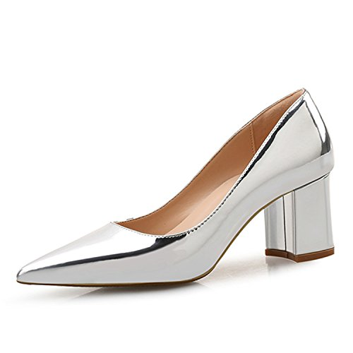 Gabbana Leopard - HANGGE& High Heels Shoes Women Pumps Patent Leather Spring Single Woman Dress Shoes Spring Thick Heels Pointed Toe Leopard Female Pumps Silver PU 4