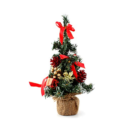 10 mini home office bedroom livingroom desk top artifical christmas tree with pinecone bows gifts ornaments decorations red - Office Desk Christmas Decorations
