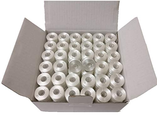(Doublelin, Prewound bobbins, Plastic Sided, Size A, Class 15, 15J, SA156, 144pcs, White Color, 100% Polyester, 75D/2 140 Yards, Fit with Most Babylock, Berenia, Brother, Janome, Juki, Singer)