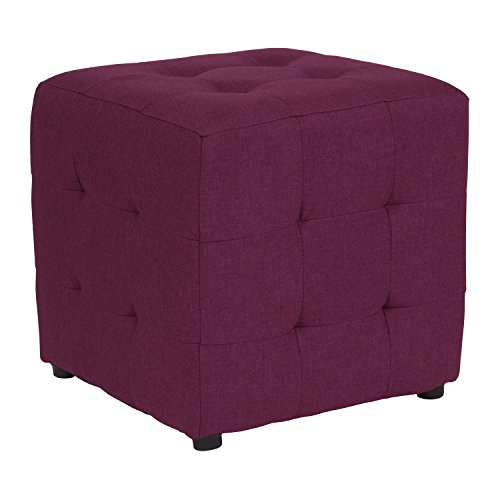 Flash Furniture Avendale Tufted Upholstered Ottoman Pouf in Purple Fabric (Purple Pouf Ottoman)