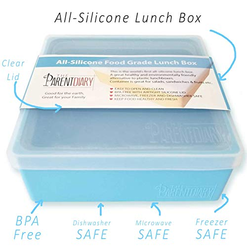 All Silicone Lunch Box/Sandwich box/Sandwich container/Food Storage Containers. Clear Silicone Lunch Box Lid thats Kid Friendly and Easy to Open. Great for Sandwiches, Salads and fruit. (Blue) by The Parent Diary