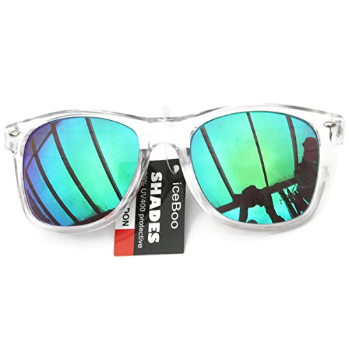 rétro Verres unisexes Transparent Wayfarer Bicolore étui avec Green 5015 soleil réfléchissant Lunettes Outer Frame de lens UV400 New qfI0x