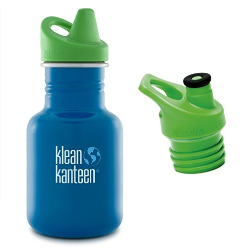 Klean Kanteen Kid Kanteen in Sky Diver, 12-Ounce, with Green Sippy Cap and Green Sport Cap 3.0