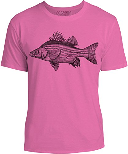 Kids Fresh Ink - Austin Ink Apparel Freshwater Bass Unisex Kids Short Sleeve Printed T-Shirt (Berry, M)