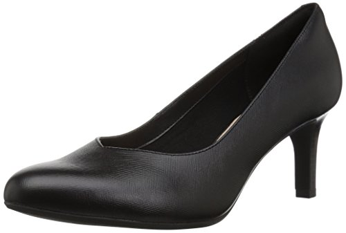 CLARKS Women's Dancer Nolin Pump, Black Embossed Leather, 120 M -