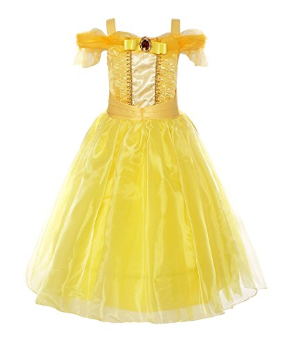 [ReliBeauty Little Girl's Princess Belle Costume Dress up RB-G9169 (10, Ankle-length:yellow)] (Belle Halloween Costumes For Women)