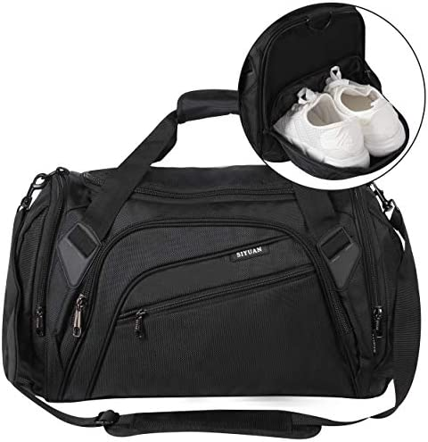 SIYUAN Sports Duffel Bag Water Resistant Athletic Gym Bag with Shoe Compartment S M L XL Length 15-22 Inches, 32-68L