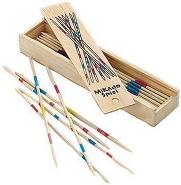 Mikado in Holzbox Holzmikado Gesellschaftsspiel Holzstäbchen Micado Spielzeug