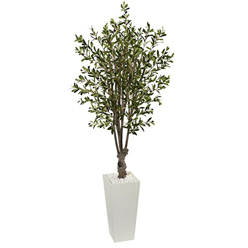 Nearly Natural 6' Olive Artificial Tree in White Tower Planter 6, Green by Nearly Natural (Image #1)