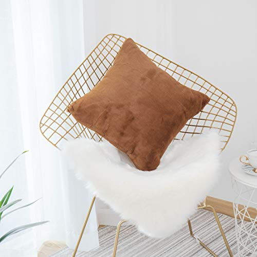 Home Brilliant Sheepskin Throw Pillow Covers