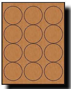 240 Label Outfitters 250250-BrnKft-20, Round, Brown Kraft, 2-1/2 inch Diameter Laser and Inkjet Labels, 20 Sheets