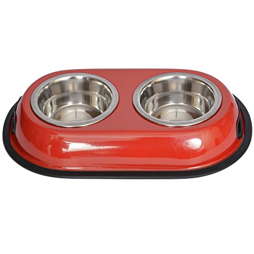 Iconic Pet 2-Cup Color Splash Stainless Steel Double Diner for Dog/Cat, 16-Ounce, Red