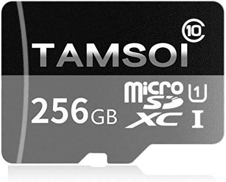 TAMSOI 256 GB Micro SD SDXC Tarjeta de Memoria de Alta Velocidad Clase 10 con Adaptador Micro SD, diseñado para Android SMA