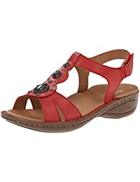ara Womens Hudson Sandals Red Leather Size 65