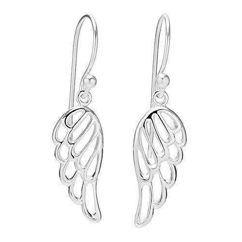 925 Sterling Silver Cut Open Angel Wing Dangle Hook Earrings