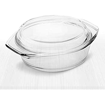 Simax Clear Glass Casserole | With Lid, Heat, Cold and Shock Proof, Made in Europe (2.5 Quart)
