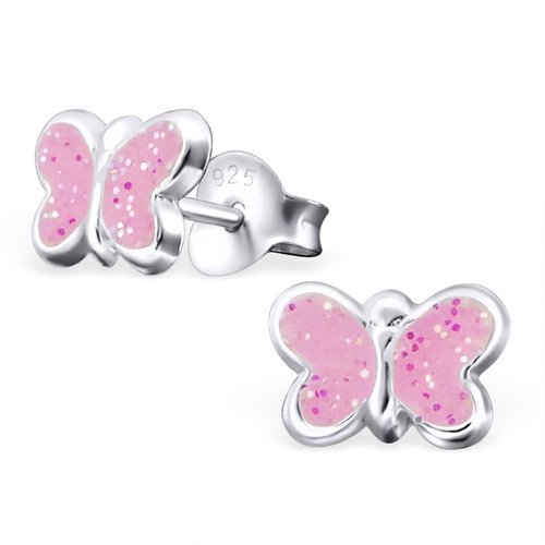 Girls Butterfly Colorful Ear Studs 925 Sterling Silver